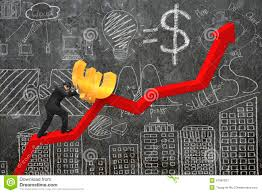 Businessman Pushing Euro At Trend Chart Starting Point With
