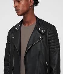 mens jasper leather biker jacket black image 2