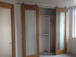 Frosted Glass Sliding Closet Door Options Near Small Window