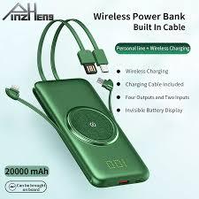 PINZHENG 20000MAh Sạc Không Dây Qi Công Suất Ngân Hàng Xây Dựng Trong 4 Cáp  Sạc Powerbank Di Động Sạc Pin Ngoài Dành Cho Xiaomi iPhone|Power Bank