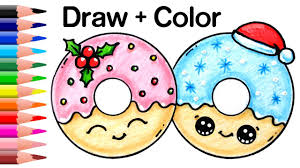 Drawingcolor How To Draw Color Christmas Donuts Step By Step Easy And Cute