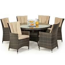 maze rattan garden furniture la brown 6 seater round dining table set