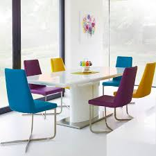 love this idea plain table bright colourful chairs calia white high gloss dining table
