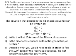 the equation that describes the fibonacci sequence can be written as