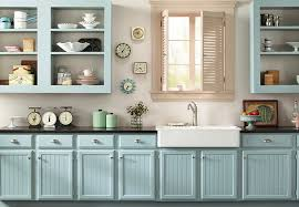 kitchen with aqua cabinets