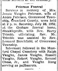 Jennie Vaughn Peterson Funeral Notice 1952 - Newspapers.com