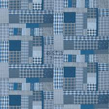 Bolcom Estahome Fotobehang Patchwork Ruiten Blauw En Grijs 158808