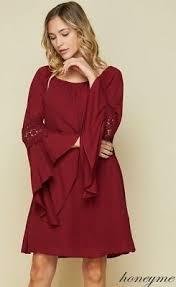 Honeyme Size Chart New Honeyme Solid Burgundy Chiffon Bell Sleeve Dress Size S