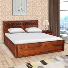 amara sheesham wood rosewood box storage queen size bed in honey colour by hometown