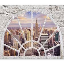 Murando Fototapete Fenster Nach New York 350x256 Cm Vlies Tapete