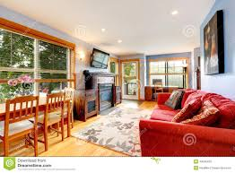 Office Living Room Living Room With Office Area And Dining Table Stock Photo Image