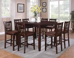 9 pieces pub style dining sets with black painted color wooden dining table and chairs with fabric seats plus gray carpet tiles ideas