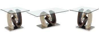 global furniture t4126 walnut oak 3pc coffee table set to enlarge