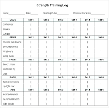 3 4 Excel Workout Template Strength Training Log Printable