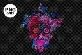 Use by itself or copy and mirror it for a toast. Colorful Sugar Skull Sublimation Graphic By Craftscreateshop Creative Fabrica