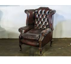 chesterfield vintage oxblood leather wing back chair