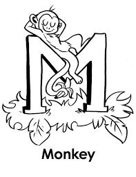 Small Picture Monkey sleeps on Letter M coloring page Download Print Online
