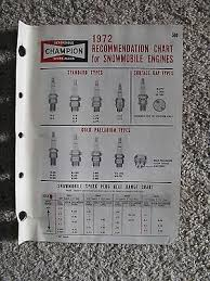1972 Champion Spark Plugs Recommendation Chart For