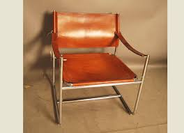 leather and chrome chair. Chrome And Leather Sling Chair I