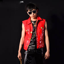 men red patent leather vest coat male fashion casual sleeveless jacket waistcoat outerwear singer performance costumes