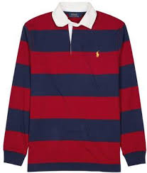 red and white stripe rugby shirt style uk