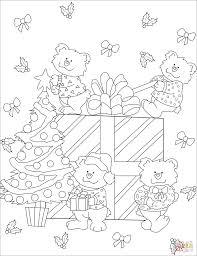 Disegno Di Orsetti Carini Con Scatolone Regalo Di Natale Da Colorare
