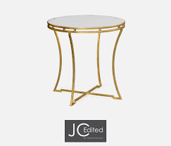 jonathan charles round side table gold leaf iron with clear glass top 20 off