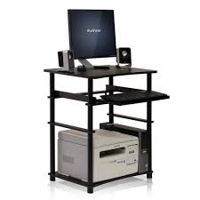llytech inc home laptop espresso computer desk with keyboard tray