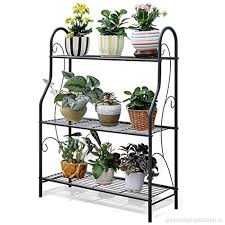fl frame outdoor plant stand 3 tier metal plant stands indoor outdoor greenhouse flower pot planter ladder display shelf garden rack black