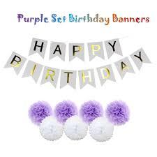 Purple Happy Birthday Banner Green Blue Pink Purple Set Happy Birthday Flag Banners For Kids