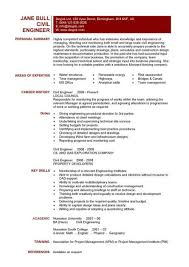 Civil Engineer CV example professional summary and key skills