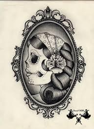 Antique mirror frame tattoo Elegant Frame Deer Head In Mirror Fram On Chloe Black Tattoos Vintage Mirror With Roses Desi Tattoo Design Swiftlet Deer Head In Mirror Fram On Chloe Black Tattoos Vintage Mirror With
