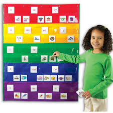Children Learning Charts Rainbow Hanging Wall Pocket Chart
