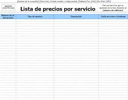 Formato De Lista De Precios Lista De Precios Por Servicio