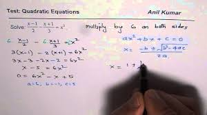 solve quadratic equation with fractions in domain of complex numbers