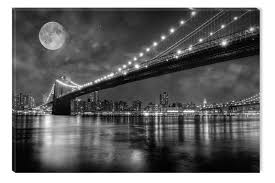black and white abstract canvas wall art brooklyn bridge glowing in the dark 80 x 120 cm