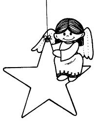 Kerst Engel Op Ster Kleurplaat Inkleur Plaat Inkleurplaat