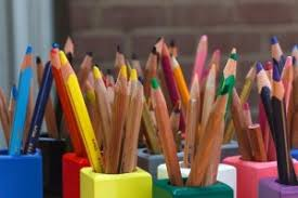 In a colored pencil holder