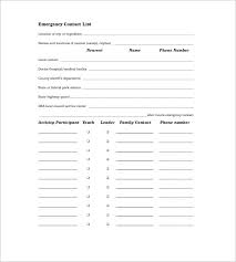 emergency contact template contact list template 10 free word excel pdf format free