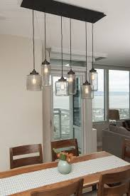 light kitchen table. Light Fixtures Over Kitchen Table Using Diy Lamp Shades From Large Clear Glass Jar Also Microfiber T
