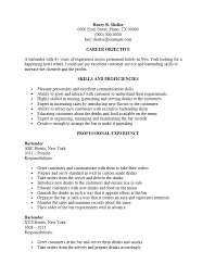 Server Resume Objective Bartender Resume Objective Bartender Server Resume Example TGAM 69