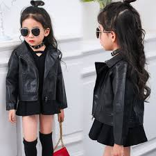 childrens pu jacket girls motorcycle coat kid outwear turn down collar faux leather jacket for girls
