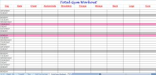 Workout Plan Sheet Total Gym Workout Plan Spreadsheet