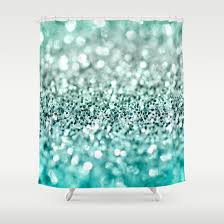 Aqua Glitter Shower Curtain By Perrin Le Feuvre