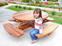 kid s round picnic table redwood no umbrella hole standard tabletop no ada