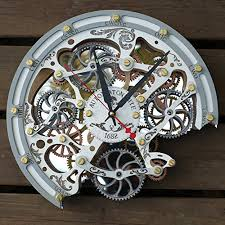 automaton bite white wall clock