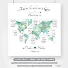Wedding Seating Chart Wording World Map Seating Chart Travel Theme Destination Wedding