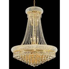 elegant lighting primo gold fourteen light 28 inch chandelier with royal cut clear crystal