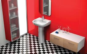 exciting white pedestal sink feat white hardwood floating vanity added drawer storage hang on red wall painted also chess pattern floor tile in retro