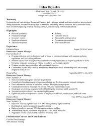 Experience Restaurant Manager Resume Sample Restaurant Manager Jobs summary  highligh